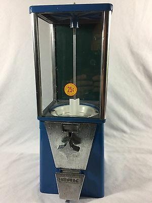 Vtg  Working, Blue, Oak Brand Quarter Candy Gumball Machine Lock And Key