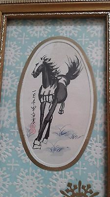 vintage Chinese painting of horse on silk signed