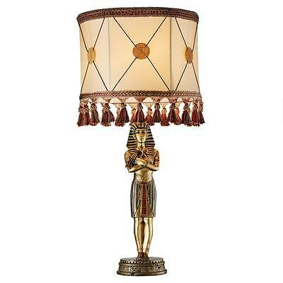 Ancient Egyptian King Tutankhamen's Stunning Hand Painted Sculptural Table Lamp
