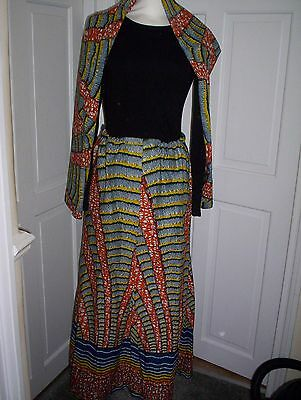 African Print Cotton Maxi Skirt With Head Tie Size 14/16