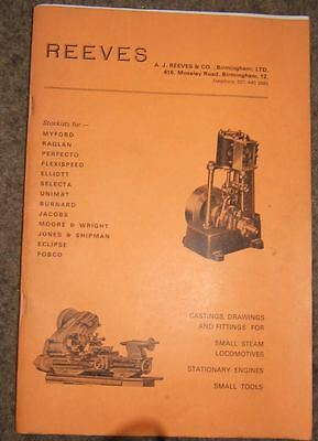 """Reeves Model Engineering Suppliers C1975 64 pages plus card front cover 10"""" x 6¾"""