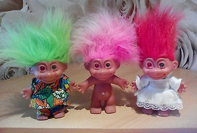 3 Trolls green and red eyes retro vintage collectables cute Russ
