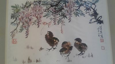 vintage Chinese picture on silk artist Chang Chien Ying