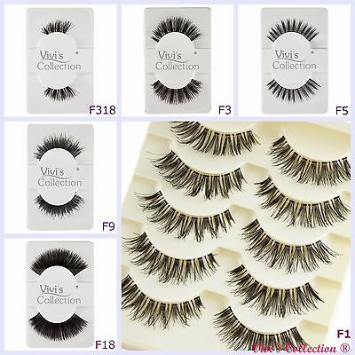 5 Pairs Vivis Finest False Eyelashes Black Thick Natural Wispies Fake Eye Lashes