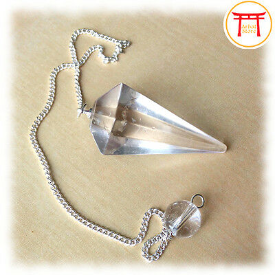 Natural Clear Quartz Crystal Gemstone Faceted Pendulum Point Dowsing Dowser