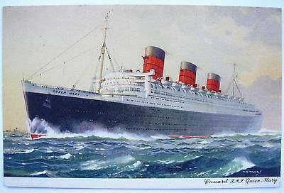 Vintage postcard of painting of Cunard R.M.S. Queen Mary