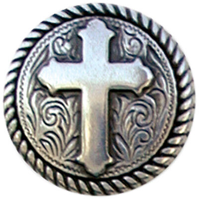 "Concho Antique Silver Screwback 1"" Round Rope Edge Cross 779105"