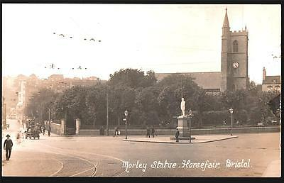 Bristol.morley Statue Horsefair .  1918 Real Photo By Viner V Serie Postcard.