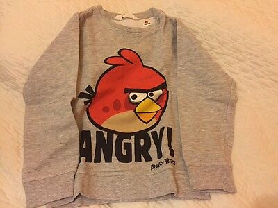 sweat fin ANGRY BIRDS, taille 6/8 ans, gris
