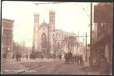 Bristol Holy Trinity Street Scene. . P.used  1914 Real Photo  Postcard.