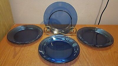 """Princess House Heritage Set Of 4 Blue Luncheon Plates 8"""""""