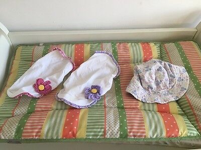 3 X Girls Sun Hats Bandanas Age 6-12 Months Floral Ditsy