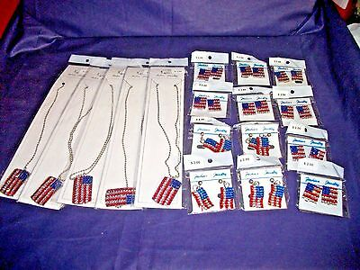 Wholesale lot 17pc Patriotic Jewelry American flag Rhinestone  Necklace,Earrings
