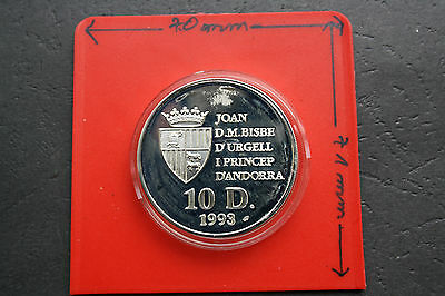 Andorra: 10 Diners 1993 large Silver Proof, KM# 86, Gem Proof-PP-UNC, #F0225