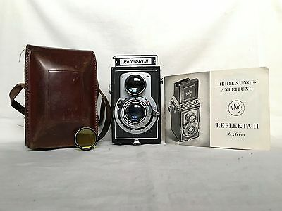 Vintage Camera - Welta - Reflekta Ii Tlr Camera With Leather Case And Manual