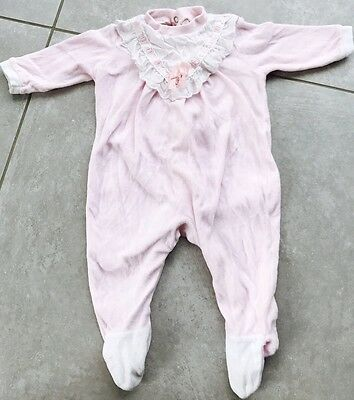 St Michael M&s Original Vintage Baby Girl Pink Lace Velour Baby Grow 3 Months