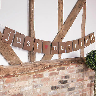 JUST MARRIED BUNTING FLAGS Room Decoration Vintage Retro Brown JUST MY TYPE