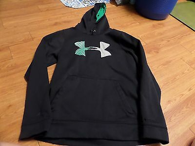 vguc-mens-Under Armour hoodie black-size small-loose fit-black storm