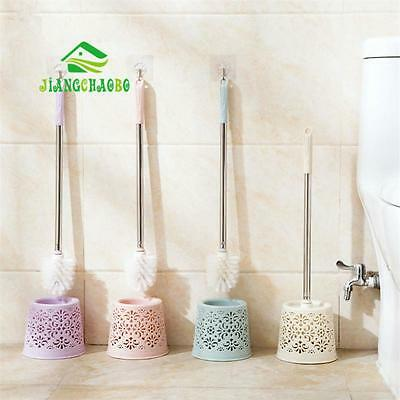 Toilet Cleaning Brush Stainless Steel Handle Bathroom Bowl Holder Clean Wc Set