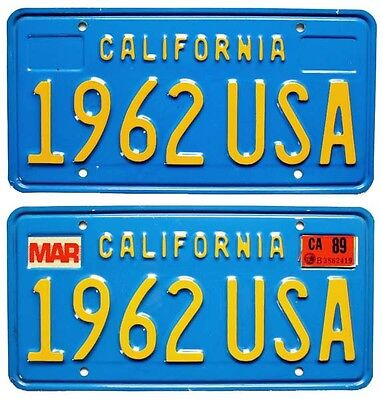 California Blue Personalized License Plate Pair, 1962 USA, DMV Clear for YOM use