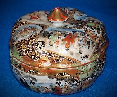 ANTIQUE JAPANESE PORCELAIN BOX + COVER SIGNED PUMPKIN GC c1890