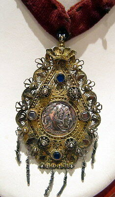 ALEXANDER SILVER GREEK STYLE COIN SET IN OLD VICTORIAN 1800s. PENDANT # 65B