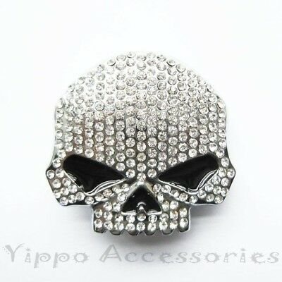 Clear Rhinestones Skull Head  Metal Fashion Belt Buckle