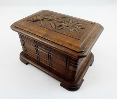 Antique Black Forest Ware Style Edelweiss Trick / Puzzle Box c Late 19th C