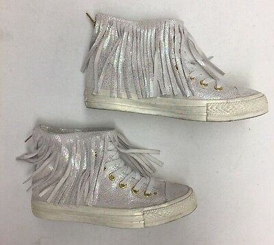Converse Women's White Iridescent High Top Fringe Sneakers Size 7