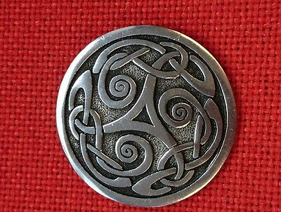 Wonderful Large St Justin Pewter Scottish Celtic Brooch Perfect Condition !!!