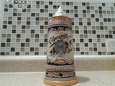 Vintage Gerz German Made Lidded Stein Olympia Beer Stein 10.5 Inch Free Shipping