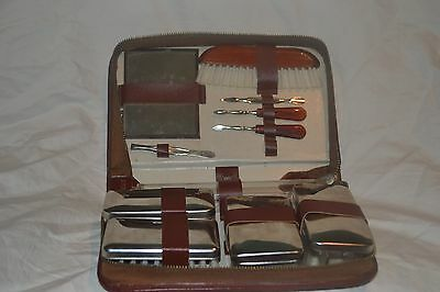 Vintage Yorkshire Leather Toiletry Kit - Never Used - Made in Austria