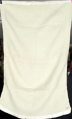"""Vintage Hand Woven Offwhite And Light Green Blanket Wool Size: 38 X 26 """""""