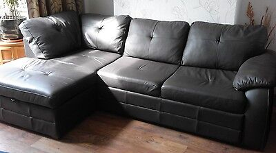 Brown leather corner sofa bed