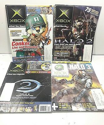 Lot of 4 Xbox Official Magazine Conker and Playboy, Halo 2, and 3 LOOK!!!