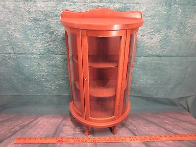 Small curved glass china cabinet cupboard kids salesman sample