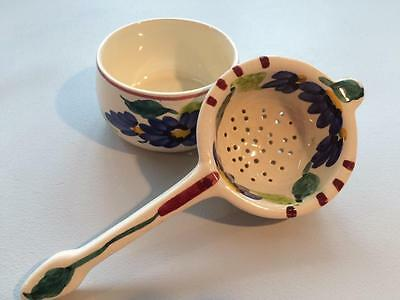 Vintage 60s Toni Raymond Pottery Tea Strainer with Holder
