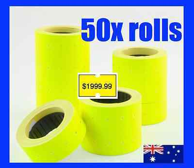 50 Fluro Pricing Price Tag Tagging Gun Label Rolls Bulk Yellow