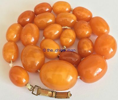 GENUINE antique chunky EGG YOLK BUTTERSCOTCH AMBER BEAD NECKLACE 34g