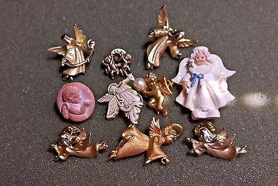 Angel Lapel Pin Lot (10) 4 Signed Gigio Giusti 1 Signed Avon With Faux Pearl God