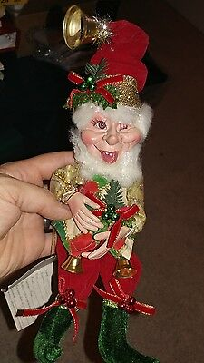 """Mark Roberts Small Bell Ringer 11"""" Elf Christmas Toys Limited Edition # 193"""