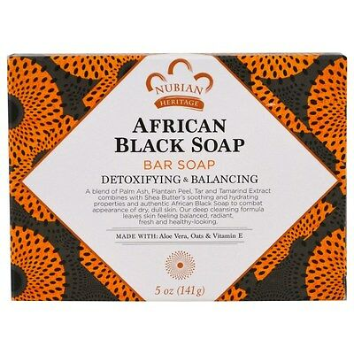 Nubian Heritage, African Black Soap Bar, 5 oz (141 g) NEW PACKAGING