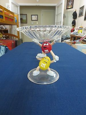 M&M's Vintage Yellow & Red Character Crystalline Candy Dish or Dispenser - New