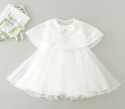 Baby Girls Christening Baptism Christening Wedding White Dress Gown With Cape