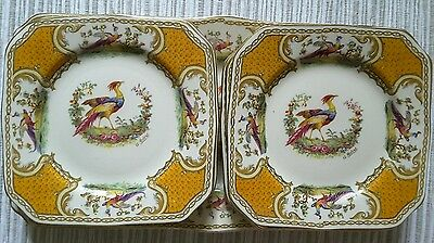 Myotts Royal Crown Yellow Chelsea Bird Sandwich Set Of 6 & Tray