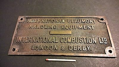 Vintage brass plaque plate International Combustion Ltd nuclear power industry