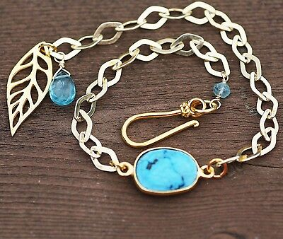Natural Apatite and Turquoise Bracelet in 14K Yellow Gold Vermeil Leaf Charm