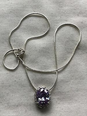 "Sterling Silver 925 Pendant With Oval Lavender Topaz 18""chain White Cz's"