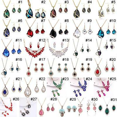 Trendy Crystal Necklace and Earrings Opal Jewelry Sets Gold Plated Jewelry  #3