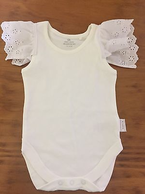 Baby Girl Size 6-9 Month Old Lace Flutter Sleeve Singlet Too / All In One